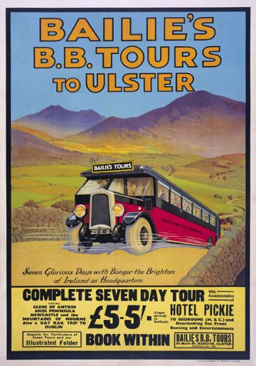 Bailies B.B. Tours to Ulster, Bangor, Co. Down, Northern Ireland. Vintage Travel Poster